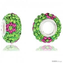 Sterling Silver Crystal Bead Charm Peridot & Pink Topaz Flower Color w/ Swarovski Elements, 13 mm