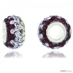Sterling Silver Crystal Bead Charm Fuchsia Satin, Light Tanzanite & White Color w/ Swarovski Elements, 13 mm