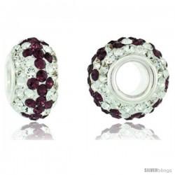 Sterling Silver Crystal Bead Charm White, Fuchsia Satin Color w/ Swarovski Elements, 13 mm