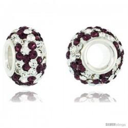 Sterling Silver Crystal Bead Charm Fuchsia Satin & Clear Spiral Color w/ Swarovski Elements, 13 mm