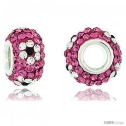 Sterling Silver Crystal Bead Charm Pink Topaz, Black & White Flower Color w/ Swarovski Elements, 13 mm