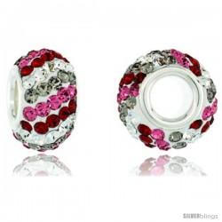 Sterling Silver Crystal Bead Charm White, Smoky Quartz, Ruby & Pink Topaz Twisted Color w/ Swarovski Elements