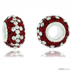 Sterling Silver Crystal Bead Charm Ruby, White Color w/ Swarovski Elements, 13 mm
