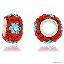 Sterling Silver Crystal Bead Charm Hyacinth Orange, Turquoise & White Flower Color w/ Swarovski Elements, 13 mm