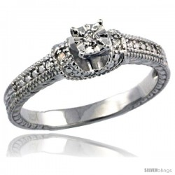 Sterling Silver Diamond Vintage Style 5-Stone Engagement Ring Rhodium Finish