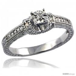 Sterling Silver Diamond Vintage Style 5-Stone Engagement Ring Rhodium Finish