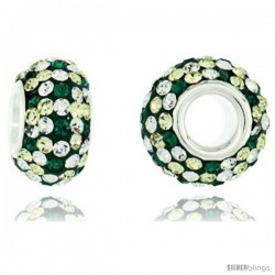 Sterling Silver Crystal Bead Charm Emerald & White Polka dot Color w/ Swarovski Elements, 13 mm
