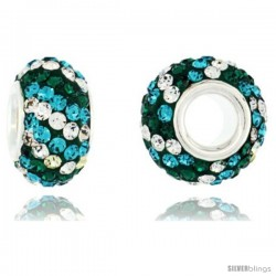 Sterling Silver Crystal Bead Charm Emerald, Turquoise & White Twisted Color w/ Swarovski Elements, 13 mm