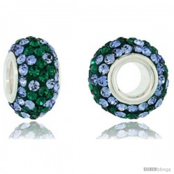 Sterling Silver Crystal Bead Charm Light Sapphire, Emerald Color w/ Swarovski Elements, 13 mm