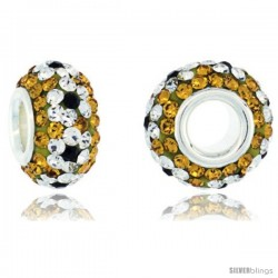 Sterling Silver Crystal Bead Charm Citrine, White & Black Flower Color w/ Swarovski Elements, 13 mm