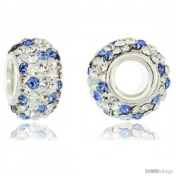 Sterling Silver Crystal Bead Charm White & Light Sapphire Polka dot Color w/ Swarovski Elements, 13 mm