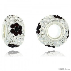 Sterling Silver Crystal Bead Charm White & Black Flower Color w/ Swarovski Elements, 13 mm