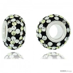 Sterling Silver Crystal Bead Charm White, Black & Lime Polka dot Color w/ Swarovski Elements, 13 mm