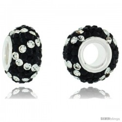 Sterling Silver Crystal Bead Charm Black & White Spiral Color w/ Swarovski Elements, 13 mm