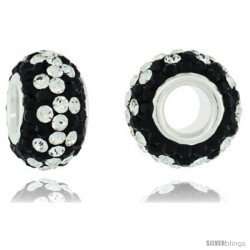 Sterling Silver Crystal Bead Charm Black, White Color w/ Swarovski Elements, 13 mm