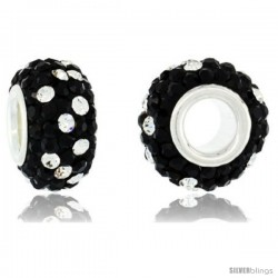 Sterling Silver Crystal Bead Charm Black Polka dot White Color w/ Swarovski Elements, 13 mm
