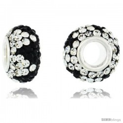 Sterling Silver Crystal Bead Charm Black & White Color w/ Swarovski Elements, 13 mm -Style Pcz399