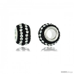 Sterling Silver Crystal Bead Charm Black & 2 Lines Of White Color w/ Swarovski Elements, 11 mm