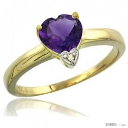 10K Yellow Gold Natural Amethyst Heart-shape 7x7 Stone Diamond Accent