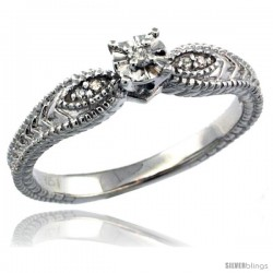 Sterling Silver Diamond Vintage Style 5-Stone Engagement Ring Rhodium Finish -Style Rdia104