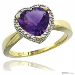 10k Yellow Gold Ladies Natural Amethyst Ring Heart-shape 8x8 Stone
