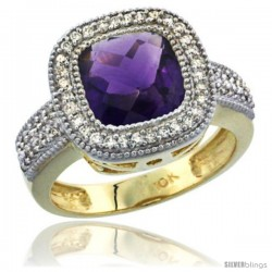 10K Yellow Gold Natural Amethyst Ring Cushion-cut 9x9 Stone Diamond Accent