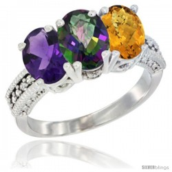 14K White Gold Natural Amethyst, Mystic Topaz & Whisky Quartz Ring 3-Stone 7x5 mm Oval Diamond Accent