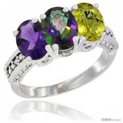14K White Gold Natural Amethyst, Mystic Topaz & Lemon Quartz Ring 3-Stone 7x5 mm Oval Diamond Accent