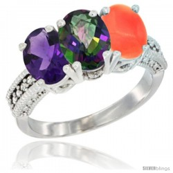 14K White Gold Natural Amethyst, Mystic Topaz & Coral Ring 3-Stone 7x5 mm Oval Diamond Accent