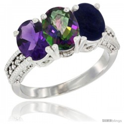 14K White Gold Natural Amethyst, Mystic Topaz & Lapis Ring 3-Stone 7x5 mm Oval Diamond Accent