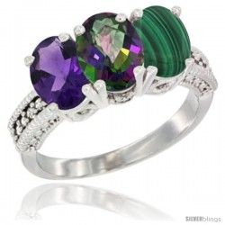 14K White Gold Natural Amethyst, Mystic Topaz & Malachite Ring 3-Stone 7x5 mm Oval Diamond Accent