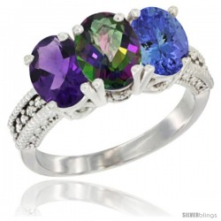 14K White Gold Natural Amethyst, Mystic Topaz & Tanzanite Ring 3-Stone 7x5 mm Oval Diamond Accent