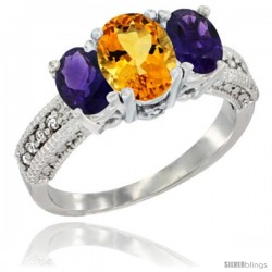14k White Gold Ladies Oval Natural Citrine 3-Stone Ring with Amethyst Sides Diamond Accent