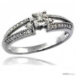 Sterling Silver Diamond Vintage Style 7-Stone Engagement Ring Rhodium Finish -Style Rdia105