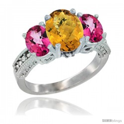 10K White Gold Ladies Natural Whisky Quartz Oval 3 Stone Ring with Pink Topaz Sides Diamond Accent