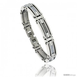 Gent's Stainless Steel Cable & Gray Carbon Fiber Bracelet, 1/2 in wide