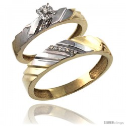 Gold Plated Sterling Silver 2-Piece Diamond Wedding Engagement Ring Set for Him & Her 4mm & 5mm wide -Style Agy152em