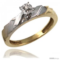 Gold Plated Sterling Silver Diamond Engagement Ring 5/32 in wide -Style Agy152er