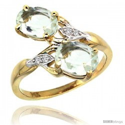 14k Gold ( 8x6 mm ) Double Stone Engagement Green Amethyst Ring w/ 0.04 Carat Brilliant Cut Diamonds & 2.34 Carats Oval Cut
