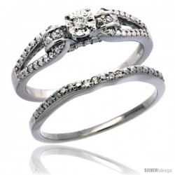 Sterling Silver Diamond Vintage Style 2-Pc. 11-Stone Engagement Ring Set Rhodium Finish