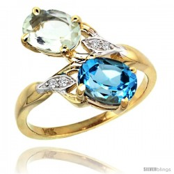 14k Gold ( 8x6 mm ) Double Stone Engagement Green Amethyst & Swiss Blue Topaz Ring w/ 0.04 Carat Brilliant Cut Diamonds & 2.34
