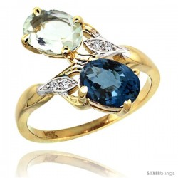 14k Gold ( 8x6 mm ) Double Stone Engagement Green Amethyst & London Blue Topaz Ring w/ 0.04 Carat Brilliant Cut Diamonds & 2.34