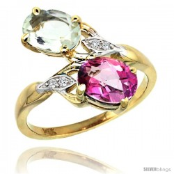 14k Gold ( 8x6 mm ) Double Stone Engagement Green Amethyst & Pink Topaz Ring w/ 0.04 Carat Brilliant Cut Diamonds & 2.34 Carats