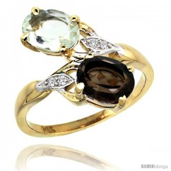 14k Gold ( 8x6 mm ) Double Stone Engagement Green Amethyst & Smoky Topaz Ring w/ 0.04 Carat Brilliant Cut Diamonds & 2.34