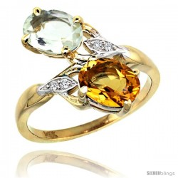 14k Gold ( 8x6 mm ) Double Stone Engagement Green Amethyst & Citrine Ring w/ 0.04 Carat Brilliant Cut Diamonds & 2.34 Carats