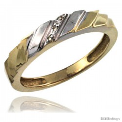 Gold Plated Sterling Silver Ladies Diamond Wedding Ring 5/32 in wide -Style Agy152lb