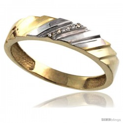 Gold Plated Sterling Silver Mens Diamond Wedding Ring 3/16 in wide -Style Agy152mb
