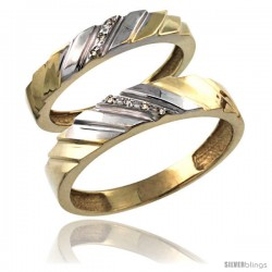 Gold Plated Sterling Silver Diamond 2 Piece Wedding Ring Set His 5mm & Hers 4mm -Style Agy152w2