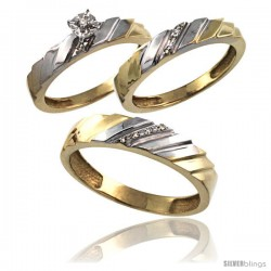 Gold Plated Sterling Silver Diamond Trio Wedding Ring Set His 5mm & Hers 4mm 0.075 cttw Ladies 5-10 Men 8 to 14