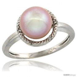 14k White Gold Halo Engagement 8.5 mm Pink Pearl Ring w/ 0.022 Carat Brilliant Cut Diamonds, 7/16 in. (11mm) wide